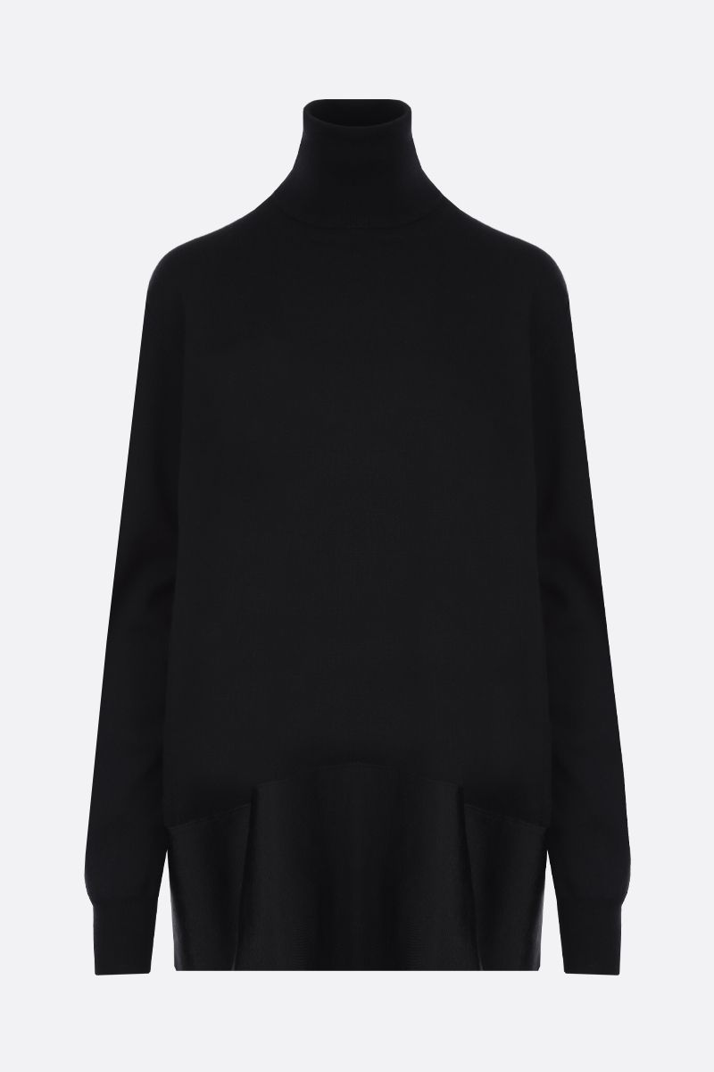 JIL SANDER: silk hem-detailed stretch wool turtleneck Color Black_1