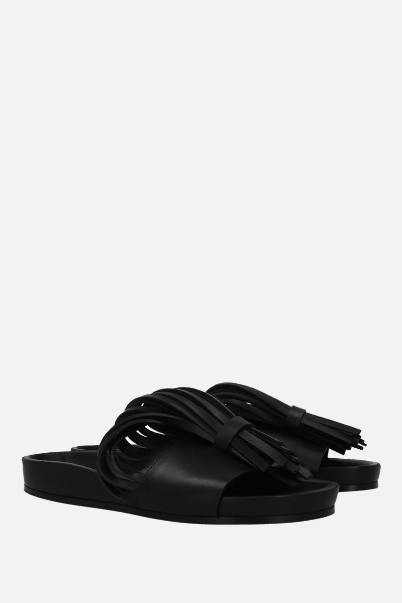 JIL SANDER: fringe-detailed leather slide sandals Color Black_2