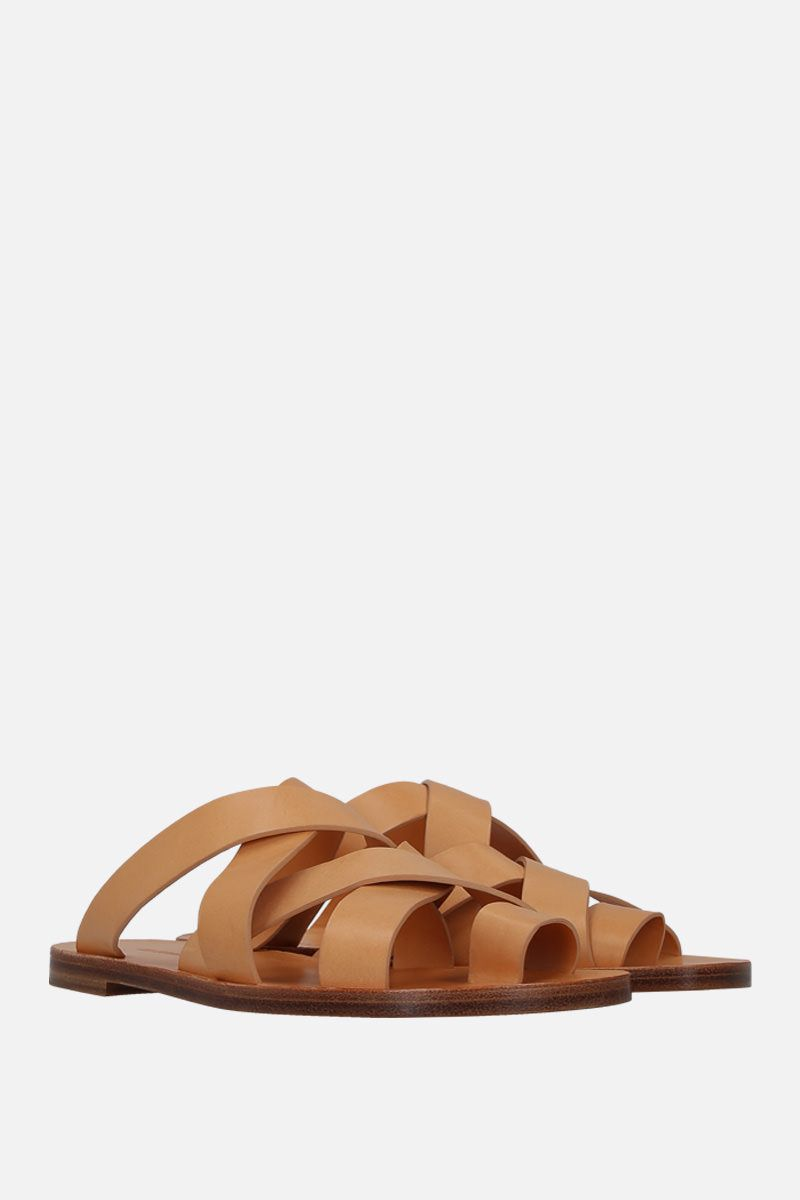 JIL SANDER: smooth leather thong sandals Color Brown_3