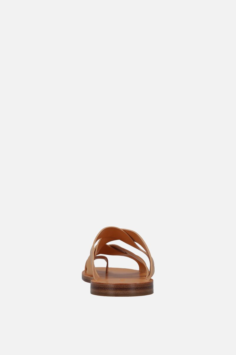 JIL SANDER: smooth leather thong sandals Color Brown_4
