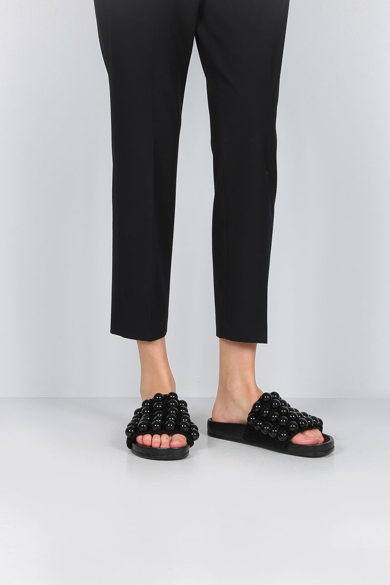 JIL SANDER: bead-embellished knit slide sandals Color Black_2