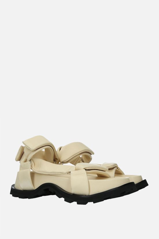 JIL SANDER: soft nappa flatform sandals Color White_2
