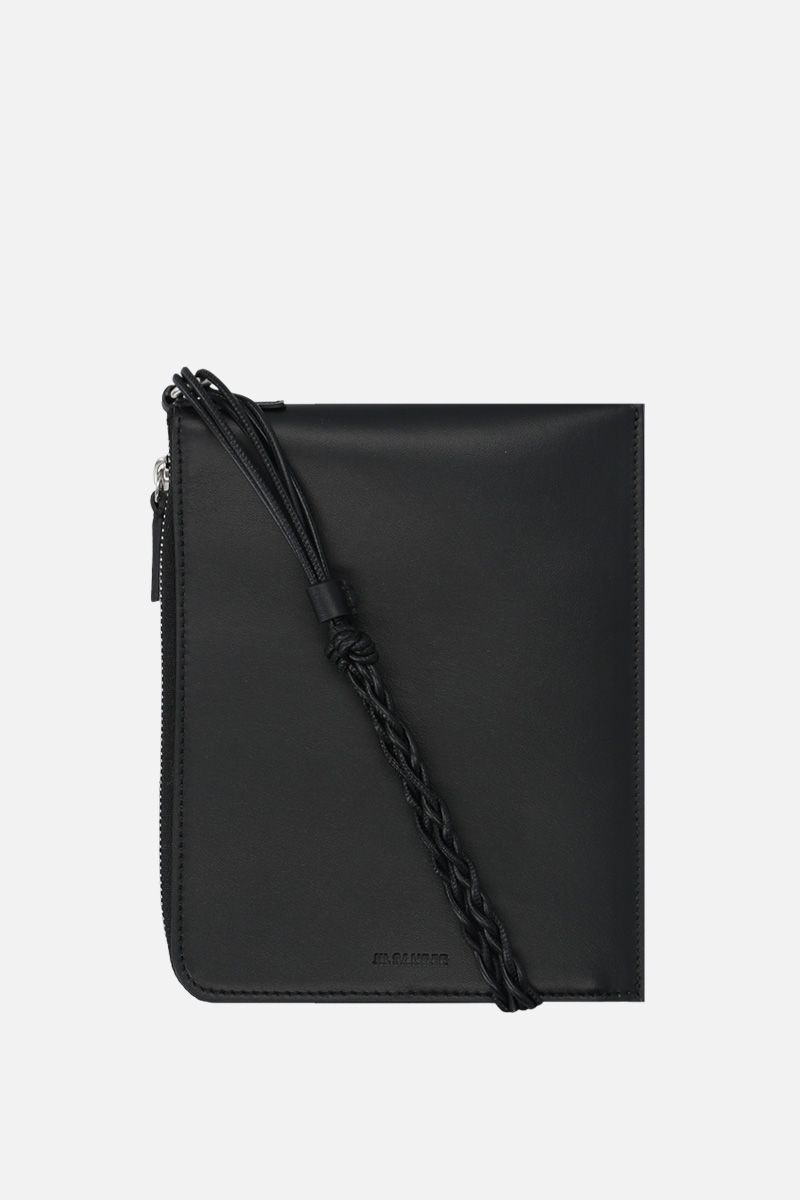 JIL SANDER: Tangle smooth leather passport holder Color Black_1