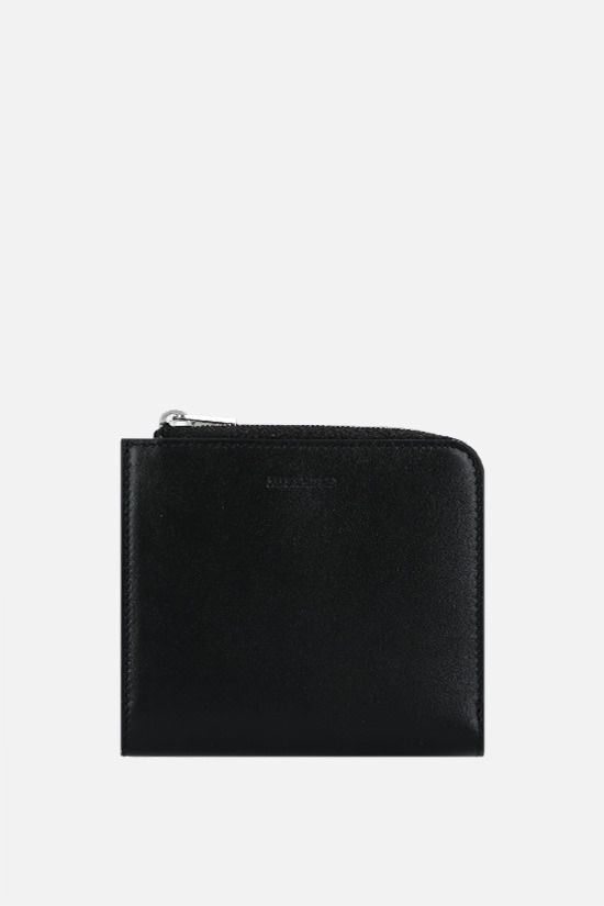 JIL SANDER: smooth leather half-zip card holder Color Black_1