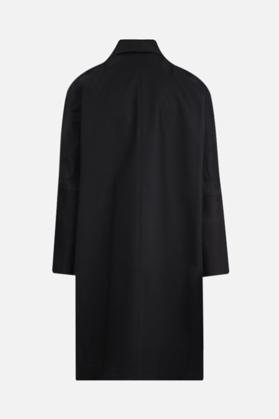 JIL SANDER: double-breasted cotton overcoat Color Black_2