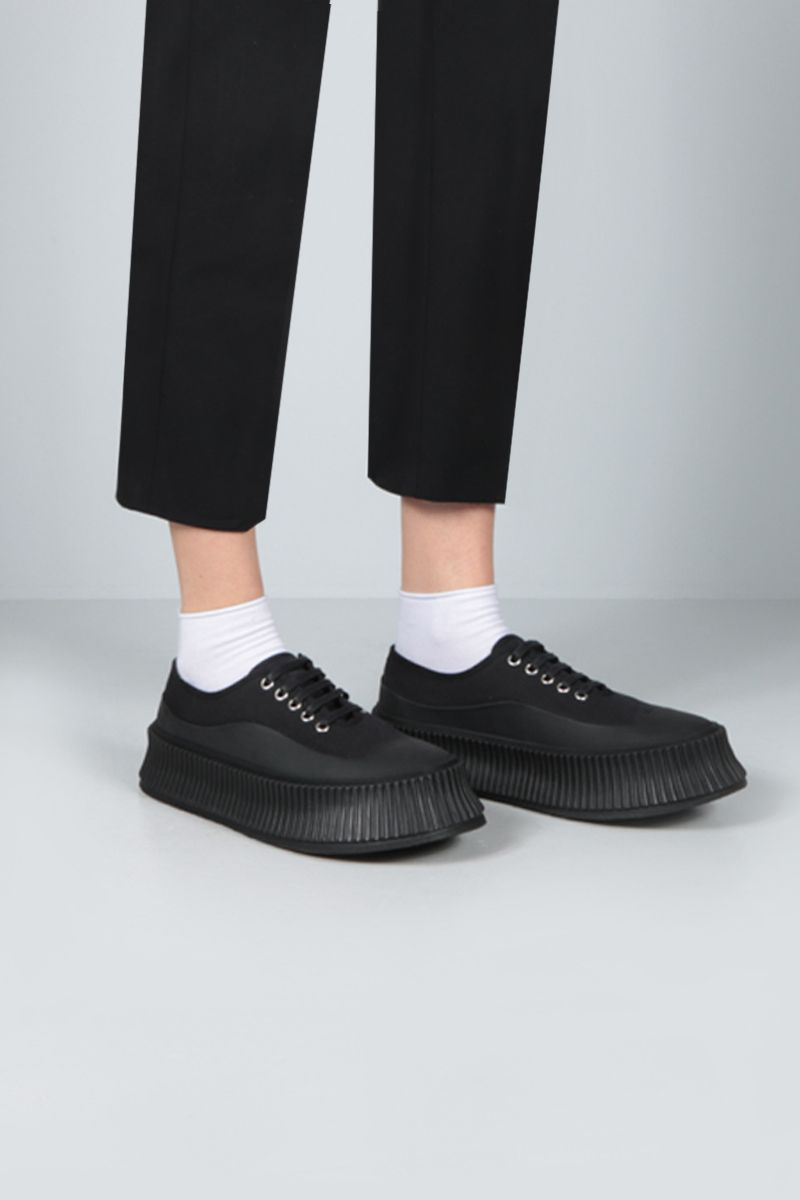 JIL SANDER: canvas and rubber low-top sneakers Color Black_2