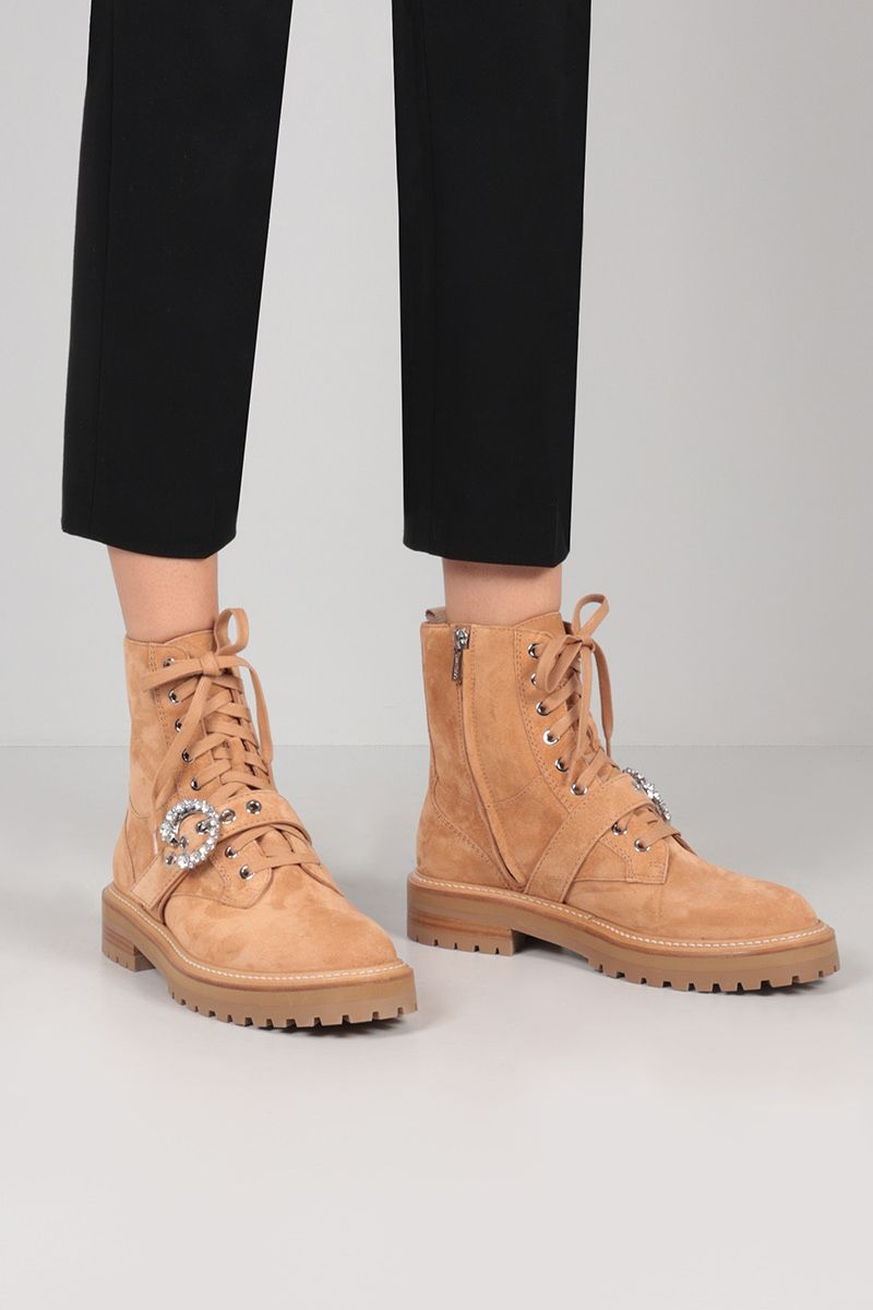 JIMMY CHOO: Cora suede combat boots Color Brown_2