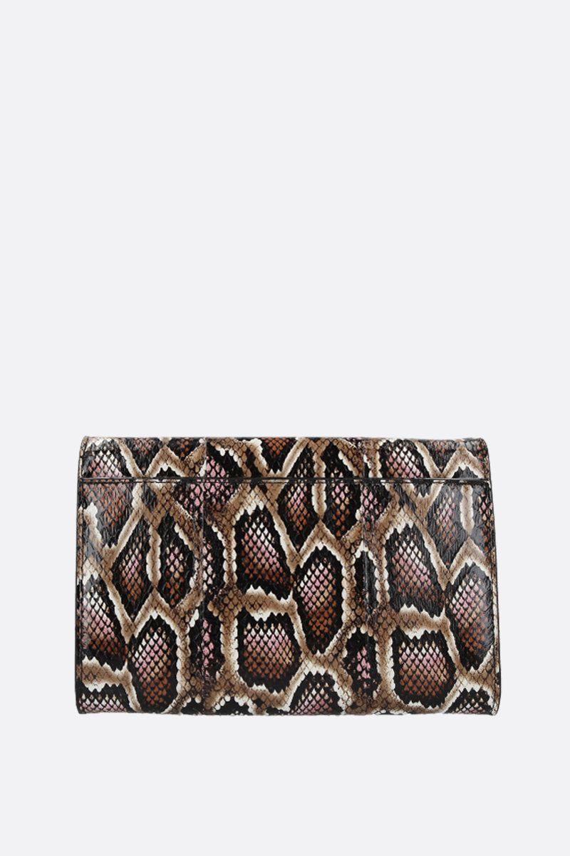 JIMMY CHOO: Varenne elaphe-embossed leather chain clutch Color Brown_3
