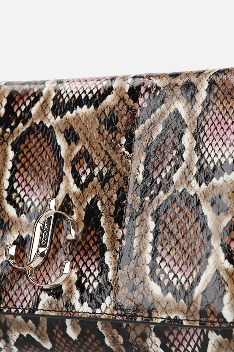 JIMMY CHOO: Varenne elaphe-embossed leather chain clutch Color Brown_4