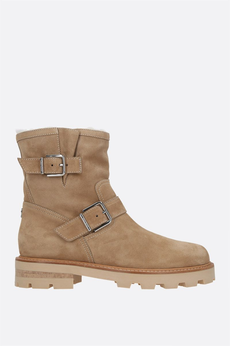JIMMY CHOO: Youth II suede combat boots Color Neutral_1
