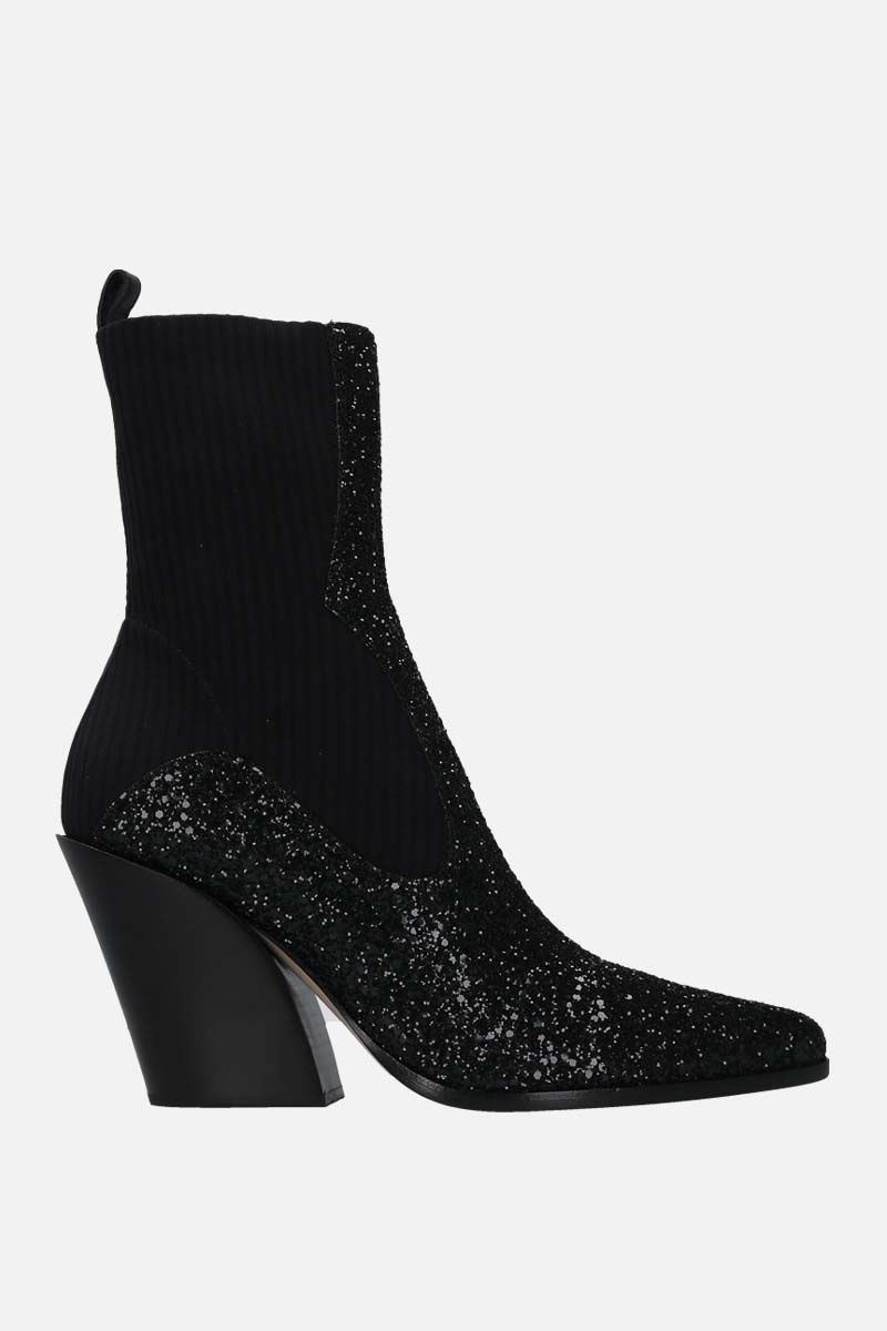 JIMMY CHOO: Mele glitter fabric and stretch knit western boots Color Black_1