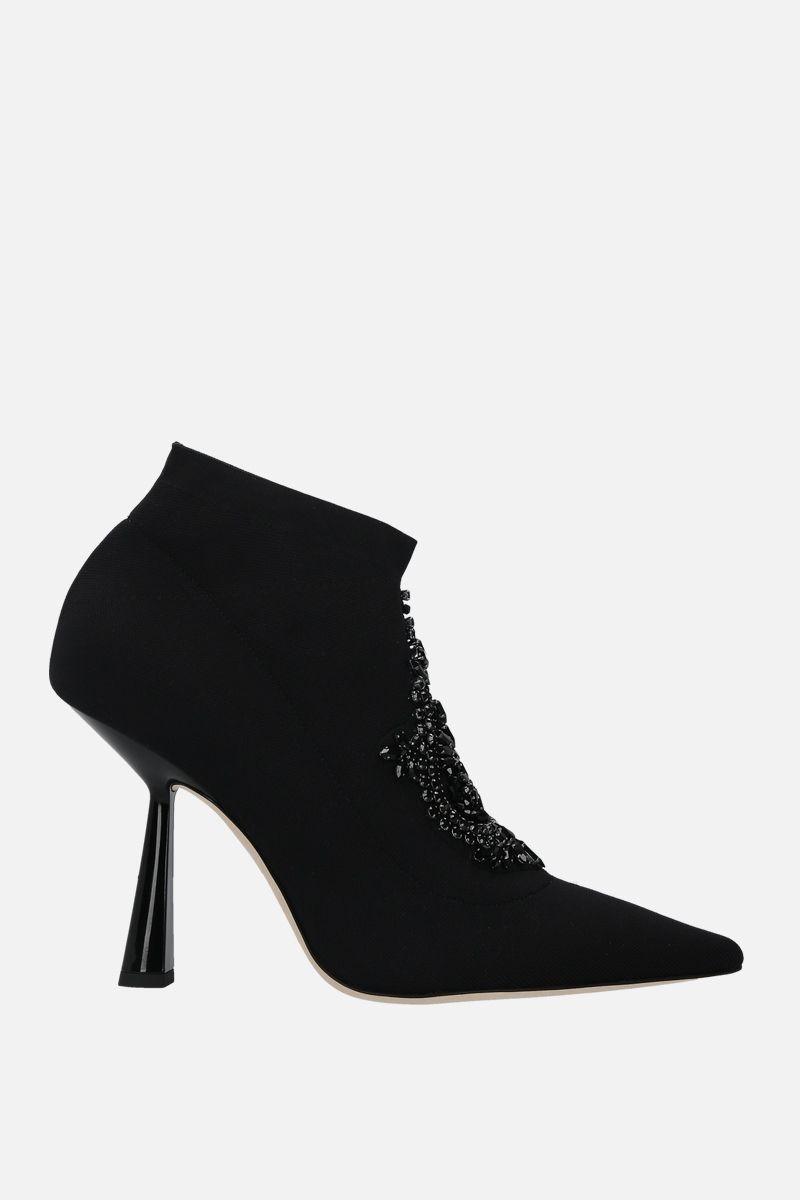 JIMMY CHOO: Saber embroidered stretch knit booties Color Black_1