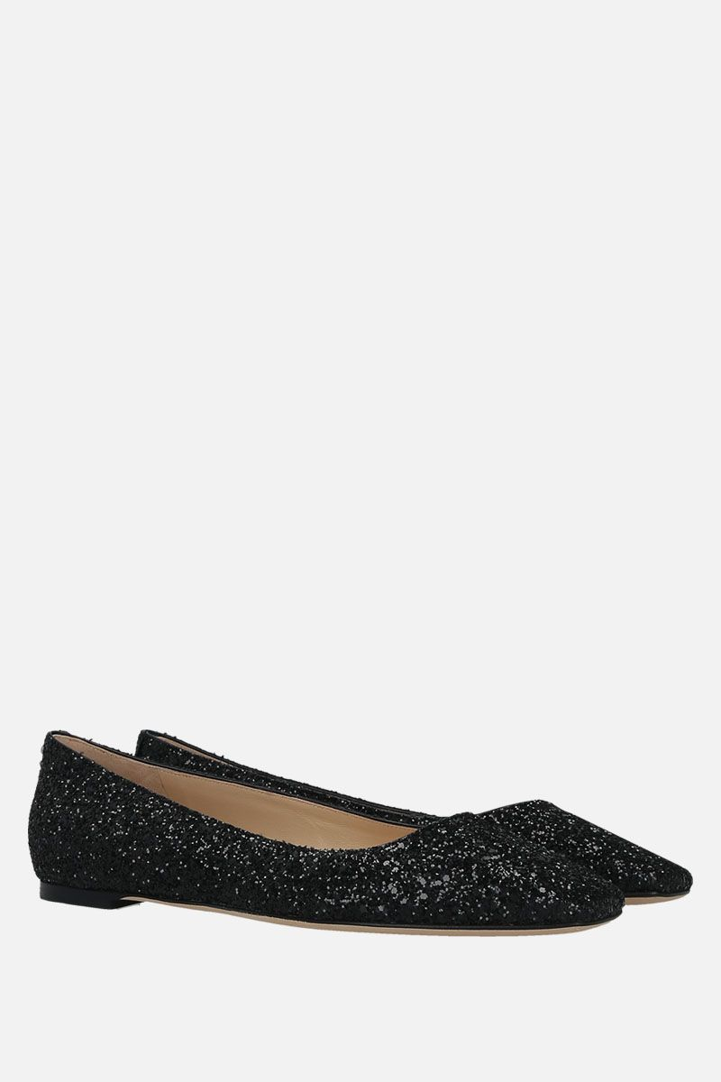 JIMMY CHOO: Mirele ballerinas in glitter fabric Color Black_2