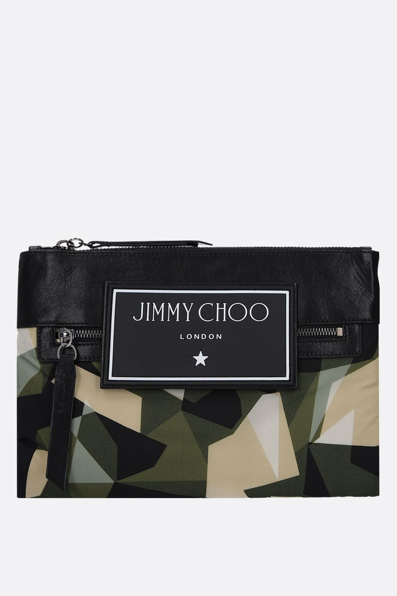 JIMMY CHOO: Kimi crossbody bag in camouflage nylon Color Green_1
