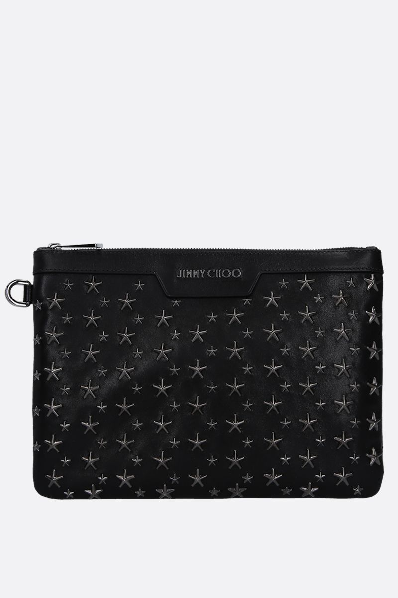 JIMMY CHOO: Derek/S pouch in shiny leather Color Black_1