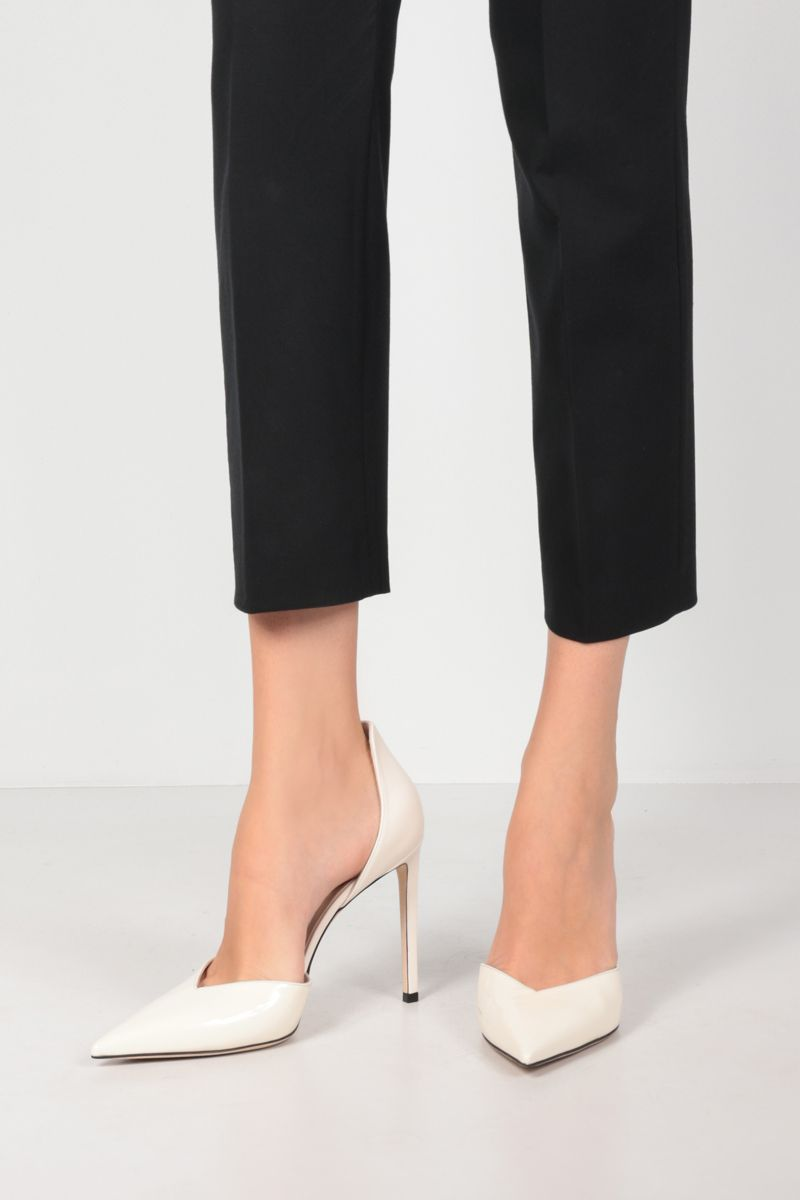 JIMMY CHOO: Beanne patent leather and nappa pumps Color White_2