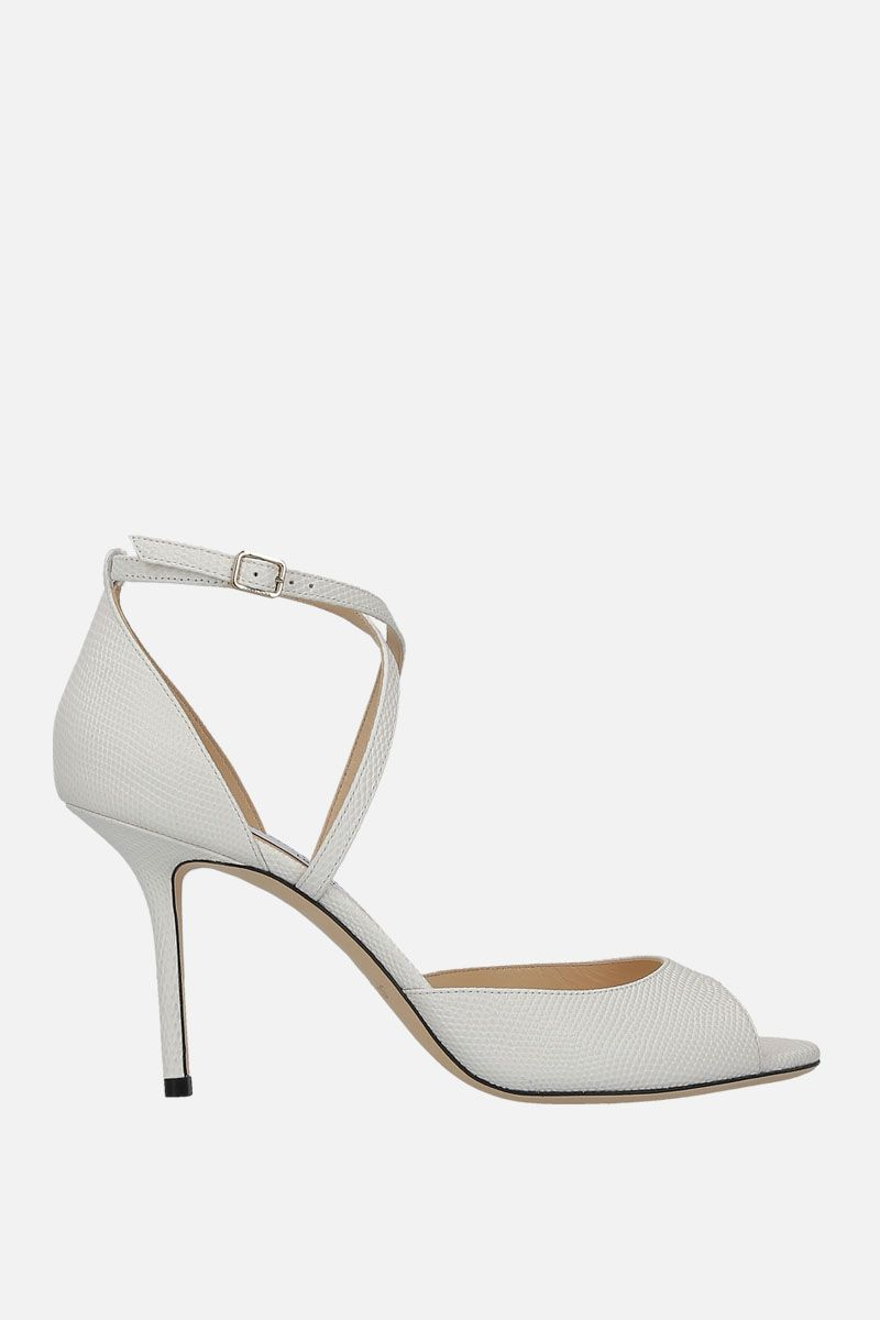 JIMMY CHOO: Emsy sandals in lizard embossed leather Color White_1
