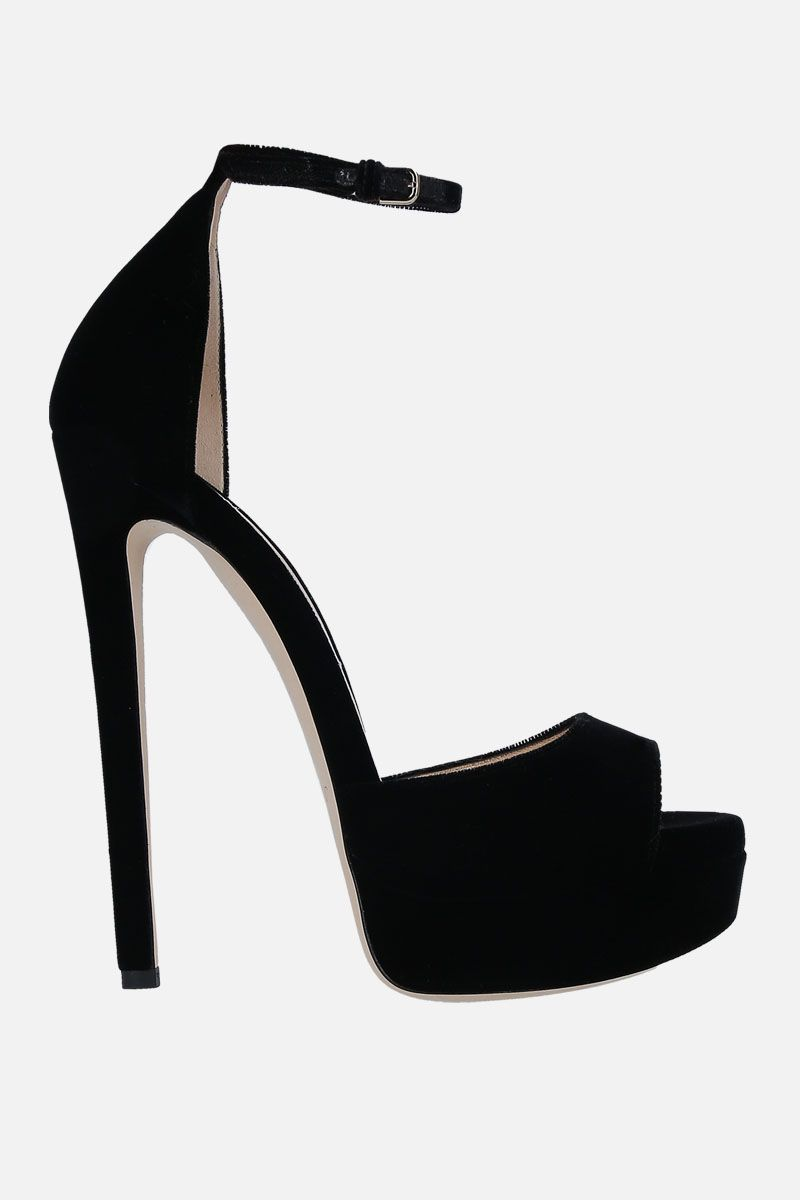 JIMMY CHOO: Max platform sandals in soft velvet Color Black_1