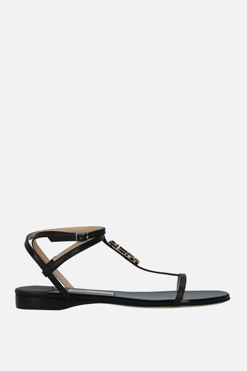 JIMMY CHOO: Alodie flat sandals in soft nappa Color Black_1