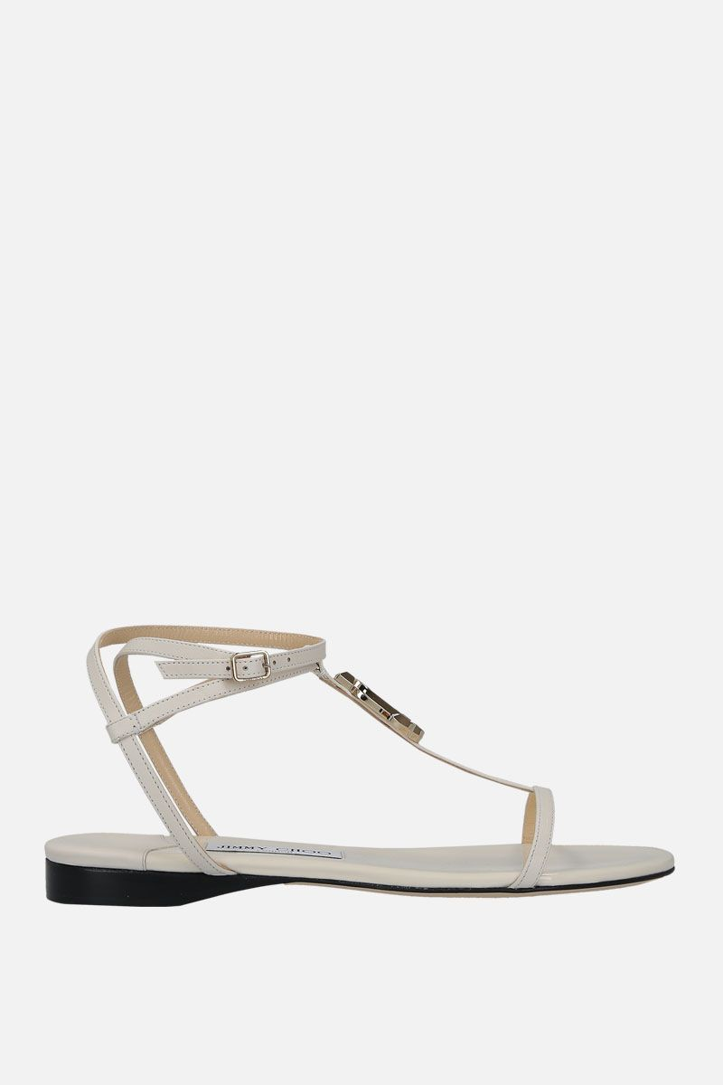JIMMY CHOO: Alodie flat sandals in soft nappa Color White_1
