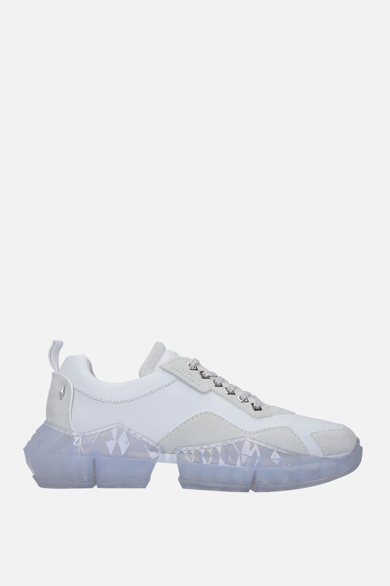 JIMMY CHOO: Diamond/M sneakers in smooth leather and suede Color White_1