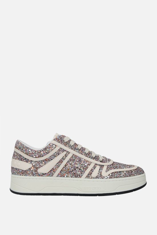 JIMMY CHOO: Hawaii/F glitter fabric and leather sneakers_1