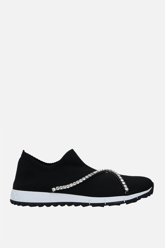 JIMMY CHOO: Verona stretch knit slip-on sneakers Color Black_1