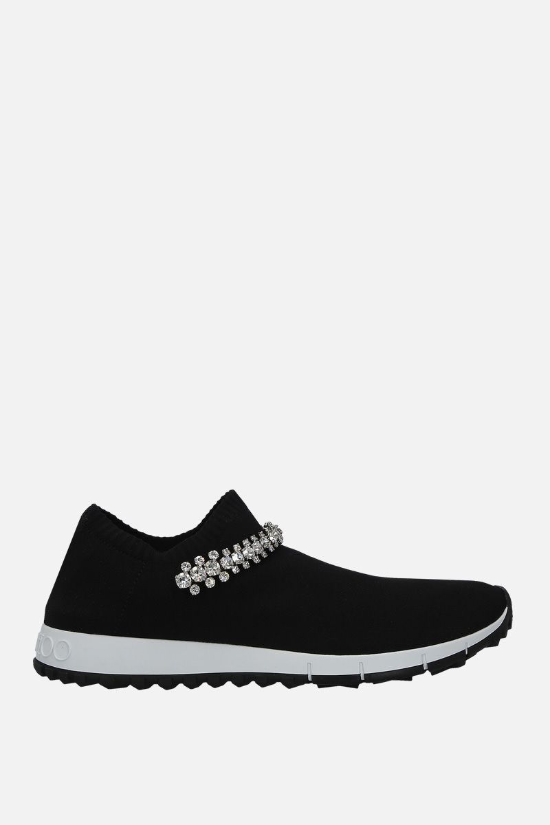 JIMMY CHOO: Verona slip-on sneakers in stretch knit Color Black_1