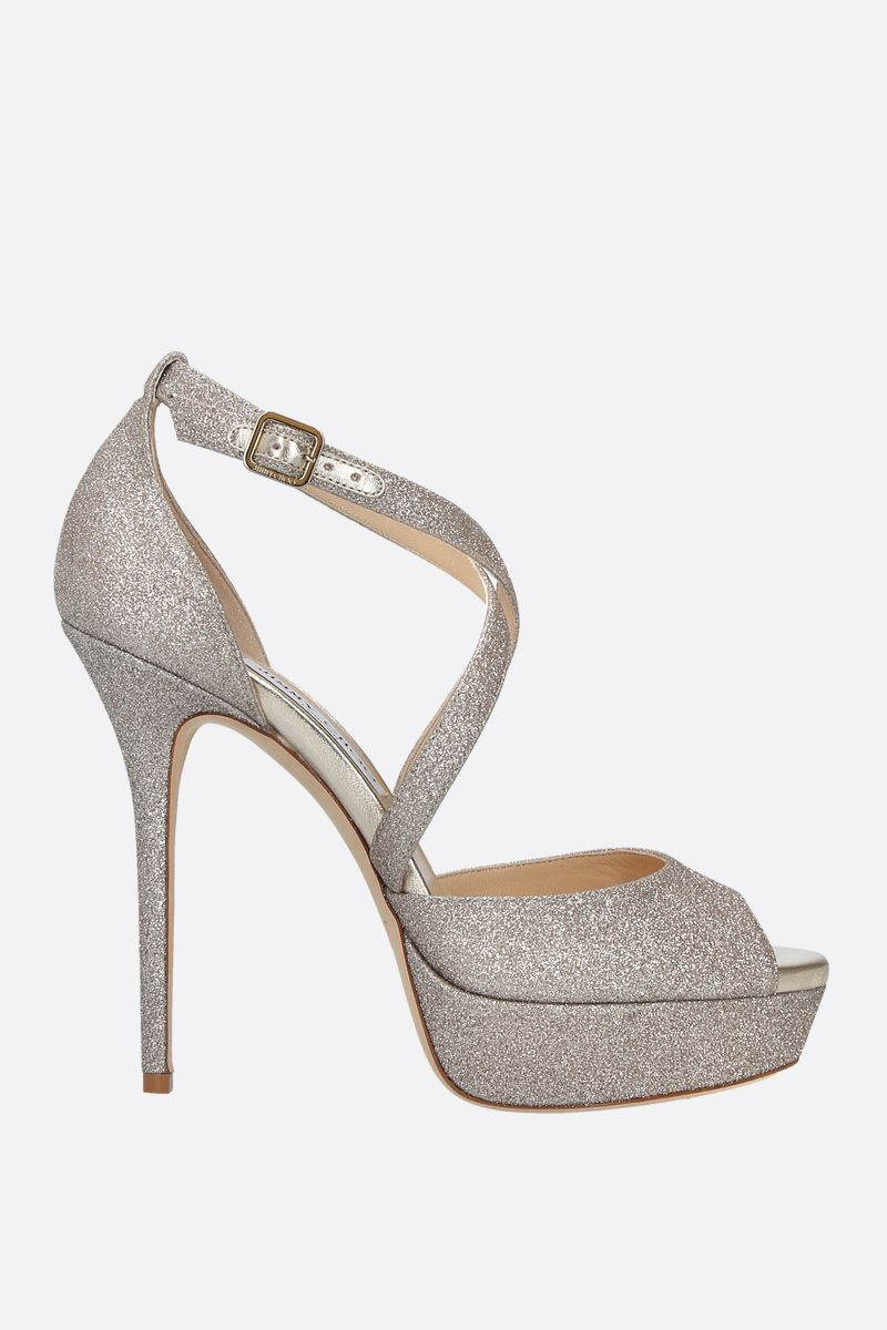 JIMMY CHOO: Jenique glitter fabric platform sandals_1