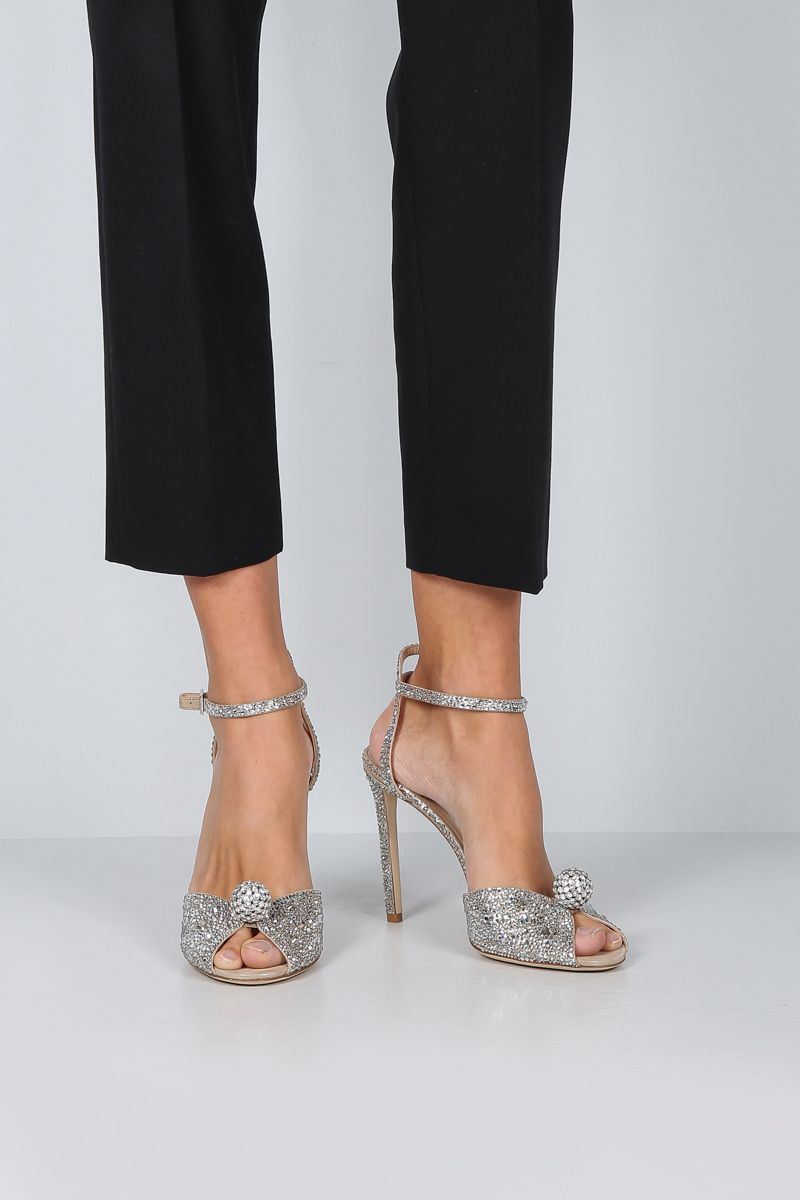 JIMMY CHOO: Sacora sandals in crystal-embellished suede Color Silver_2