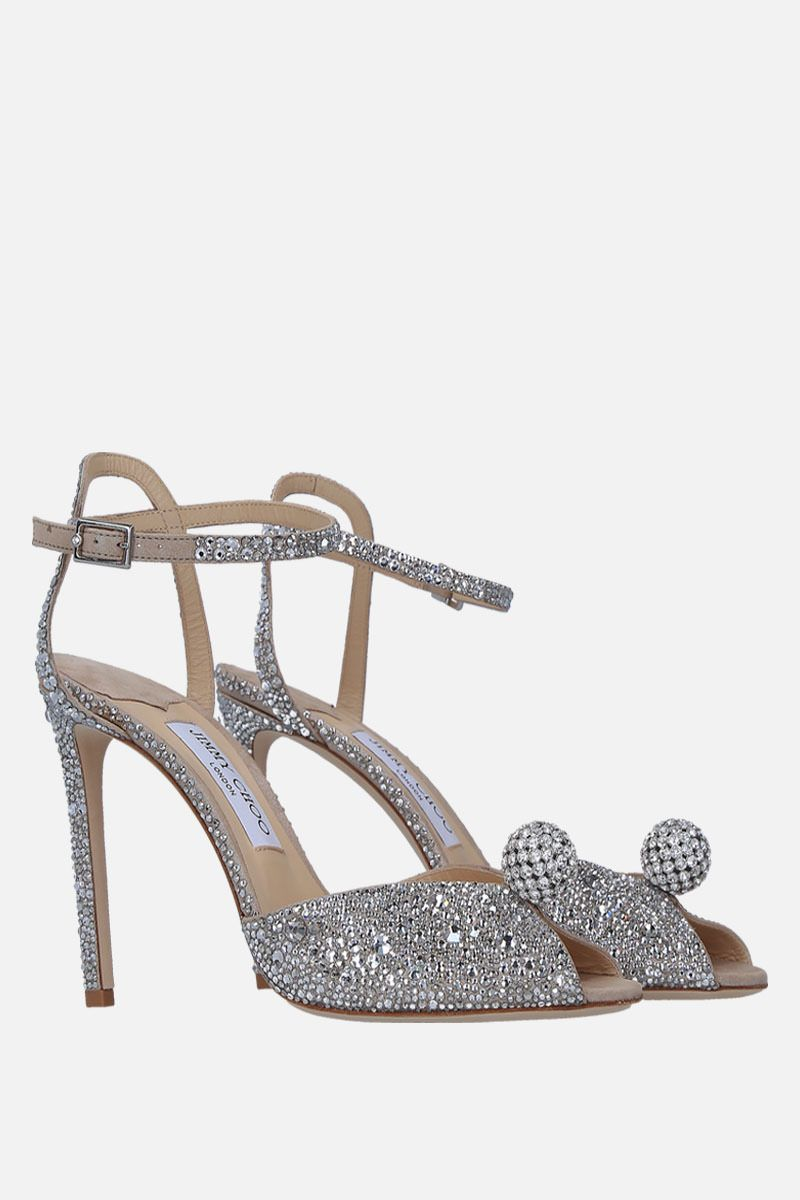 JIMMY CHOO: Sacora sandals in crystal-embellished suede Color Silver_3