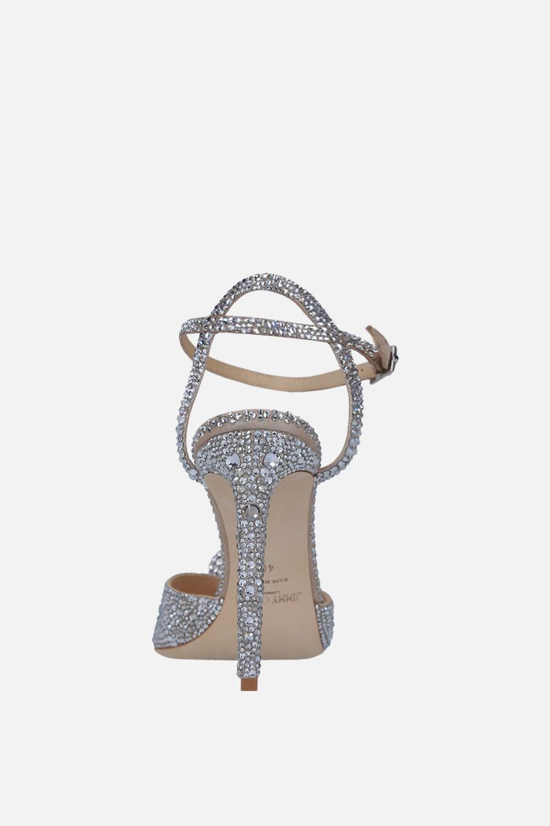 JIMMY CHOO: Sacora sandals in crystal-embellished suede Color Silver_4
