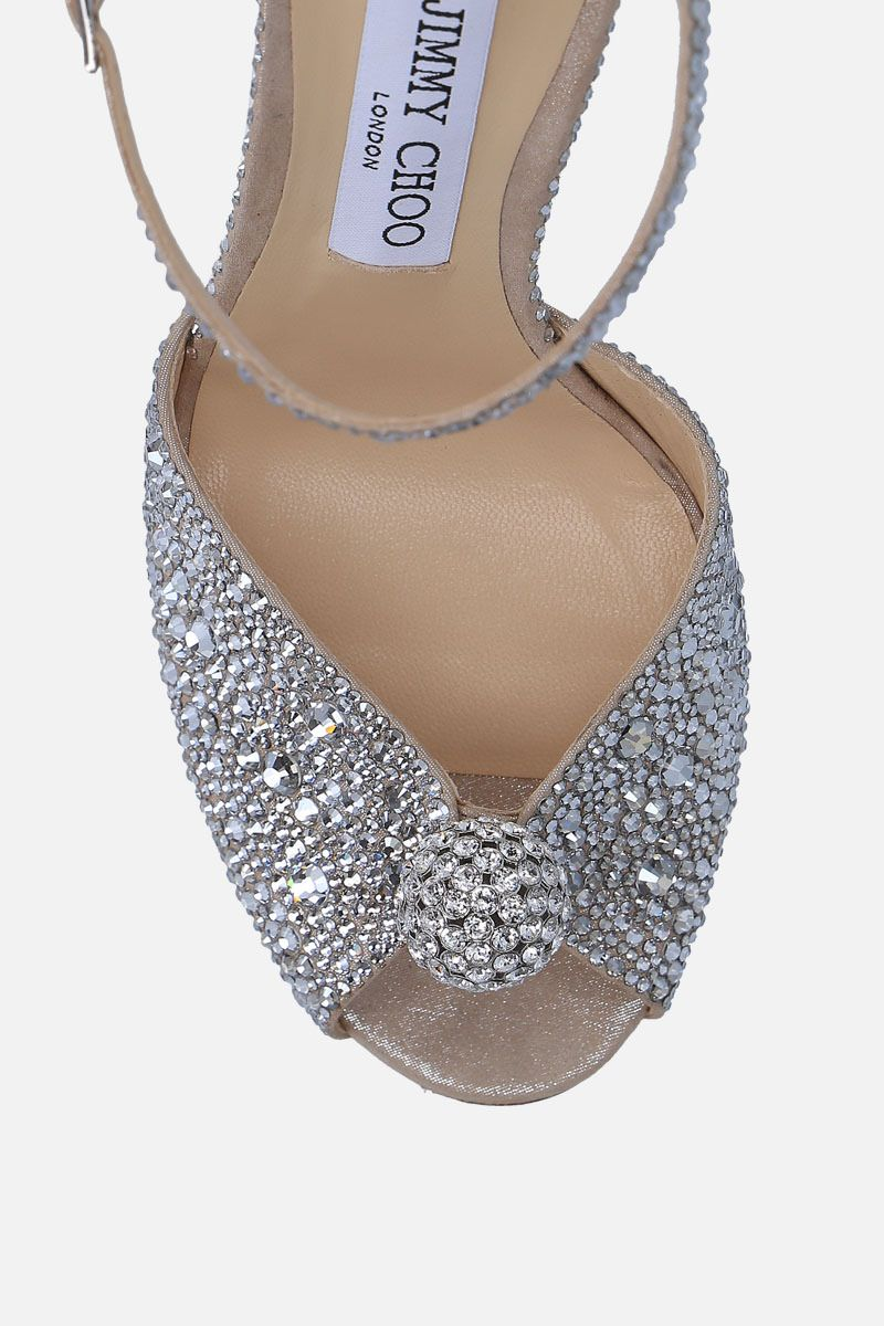 JIMMY CHOO: Sacora sandals in crystal-embellished suede Color Silver_5