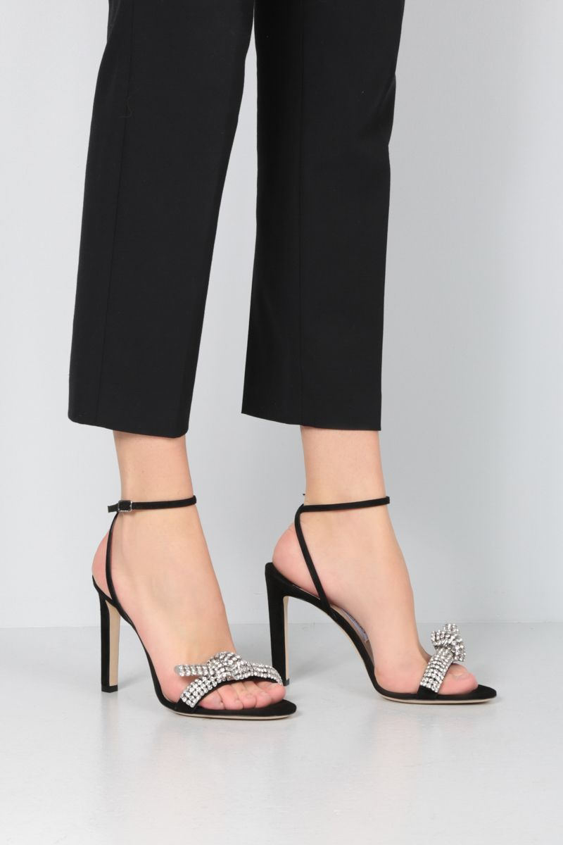 JIMMY CHOO: Thyara suede sandals Color Black_2