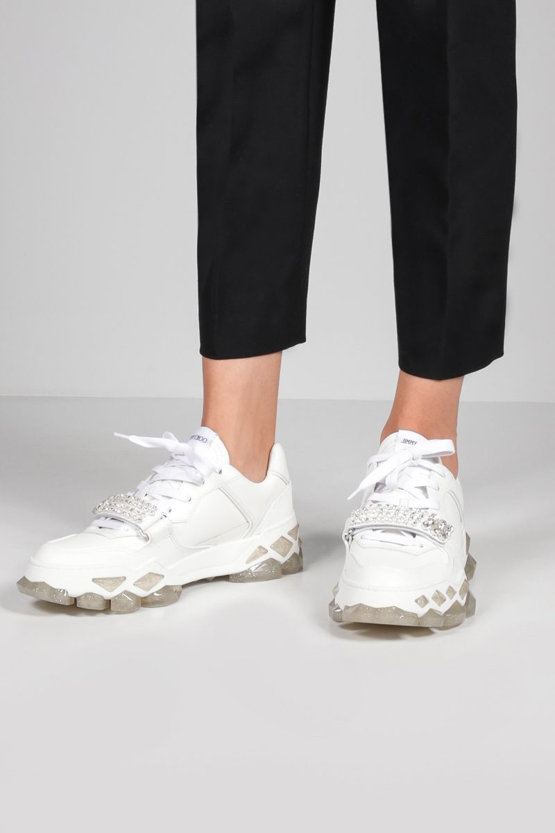 JIMMY CHOO: Diamond X smooth leather sneakers Color White_2