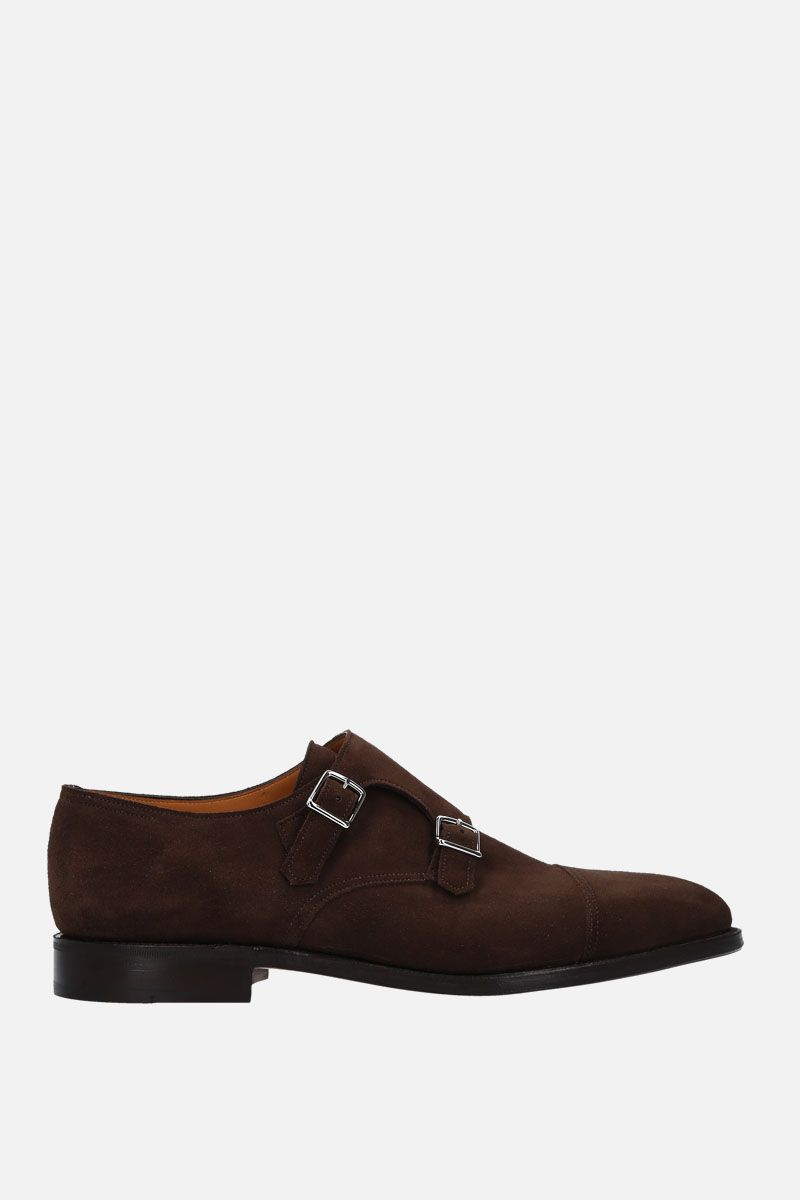 JOHN LOBB: William monk strap shoes in suede Color Gold_1