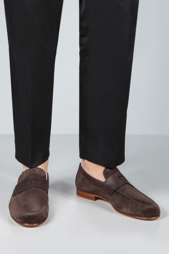 JOHN LOBB: Hendra suede loafers Color Brown_2