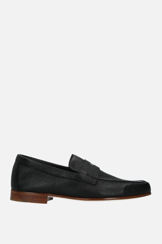 JOHN LOBB: Hendra grainy leather loafers Color Black_1