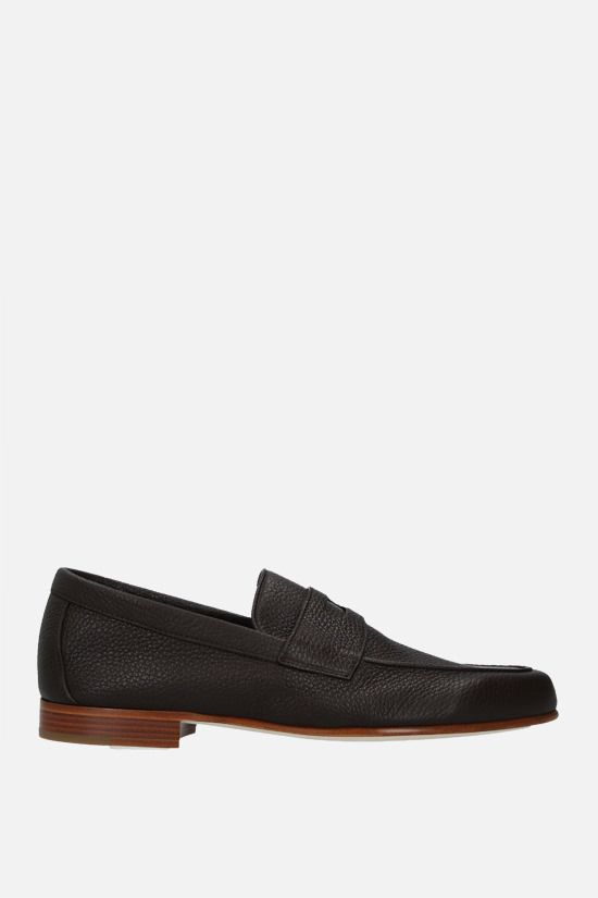 JOHN LOBB: Hendra grainy leather loafers Color Brown_1