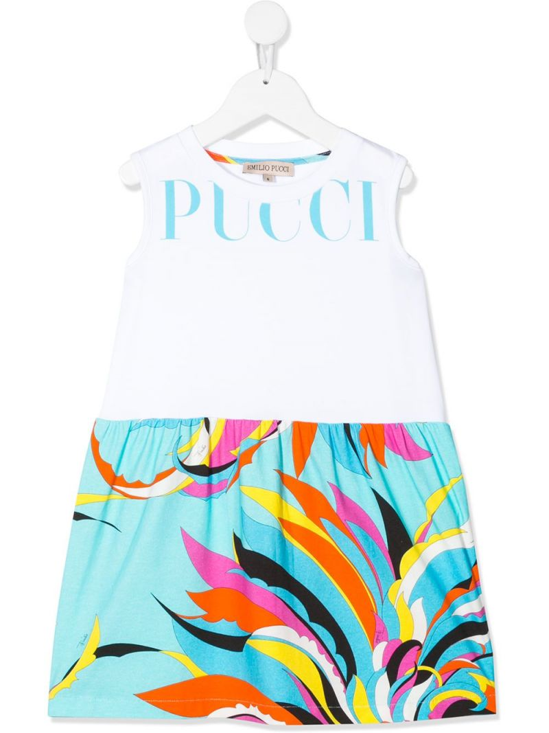EMILIO PUCCI JUNIOR: floral print cotton blend sleeveless dress Color White_1