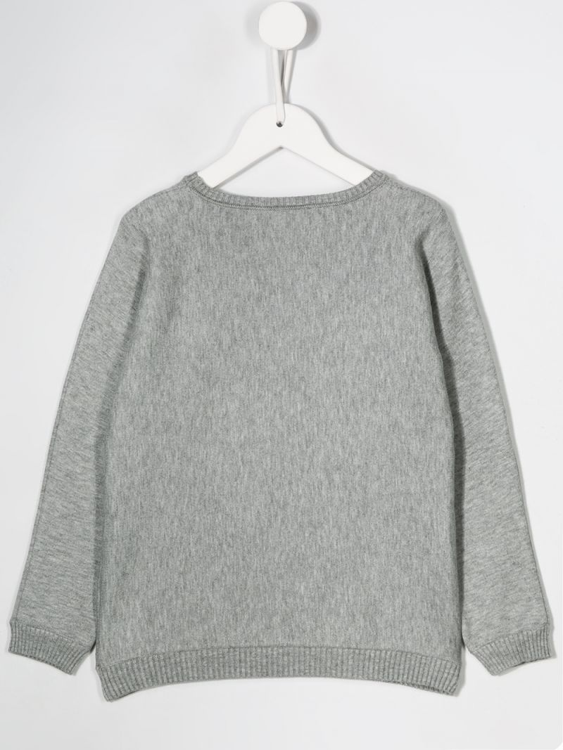 EMILIO PUCCI JUNIOR: logo intarsia knit pullover Color Grey_2