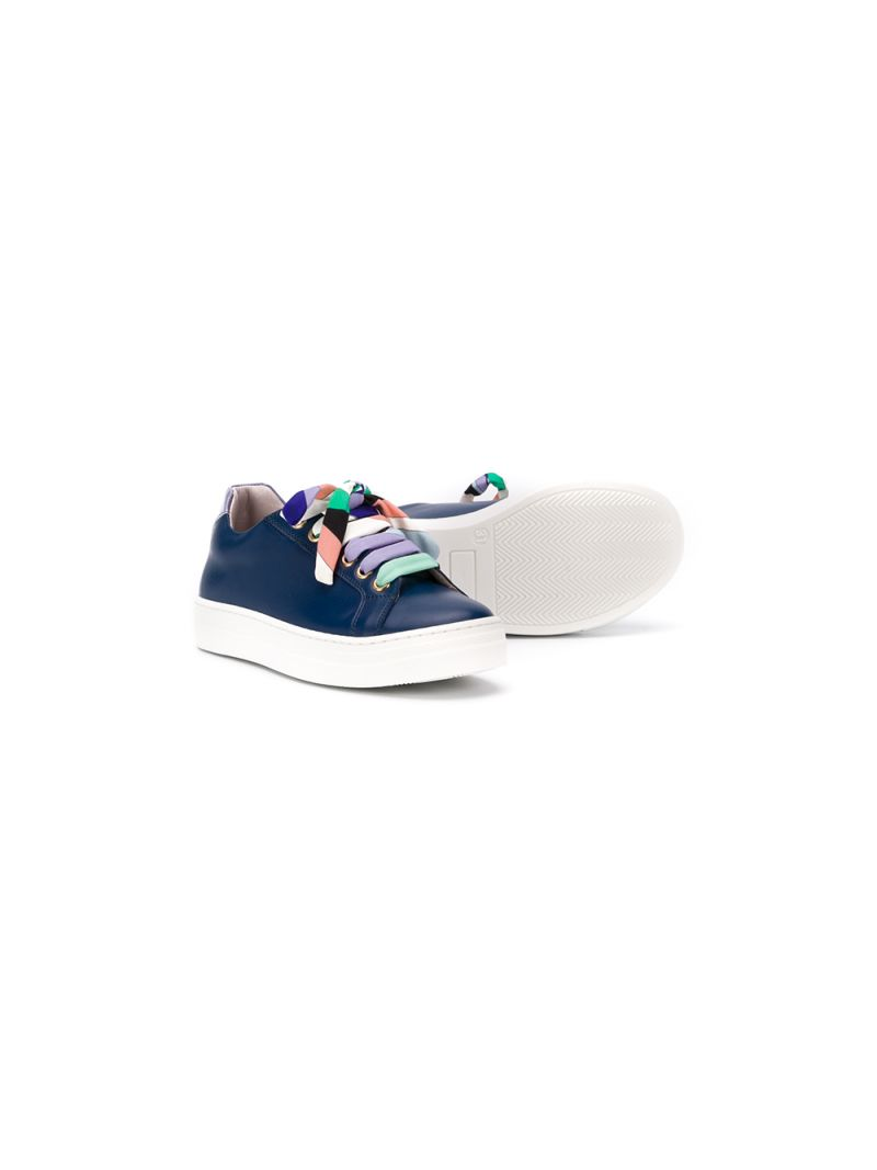 EMILIO PUCCI JUNIOR: smooth leather sneakers Color Blue_2