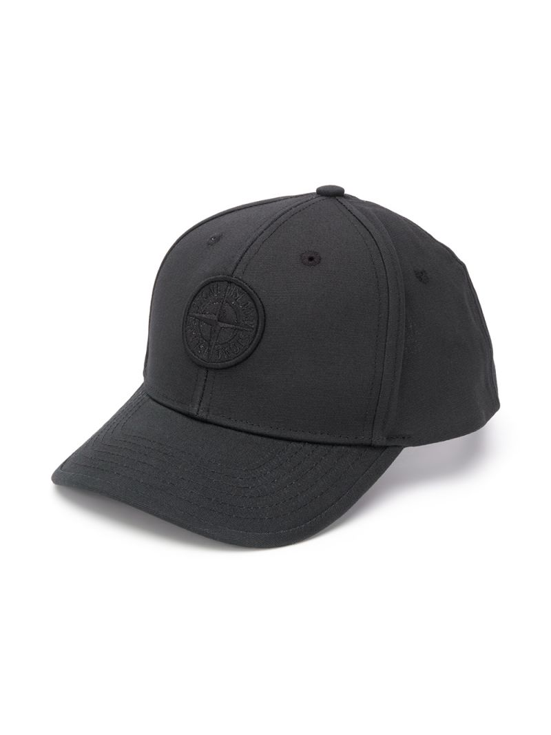 STONE ISLAND JUNIOR: logo embroidered canvas baseball cap Color Black_1