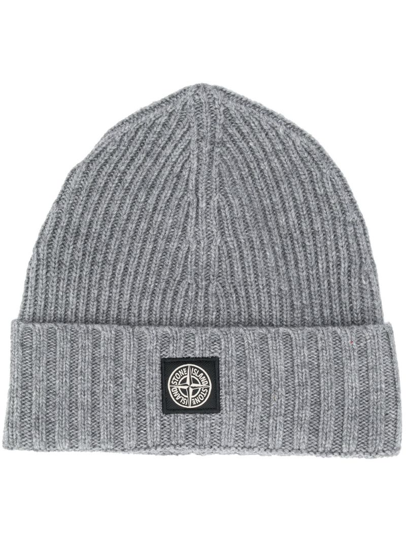 STONE ISLAND JUNIOR: logo patch wool cashmere blend beanie_1
