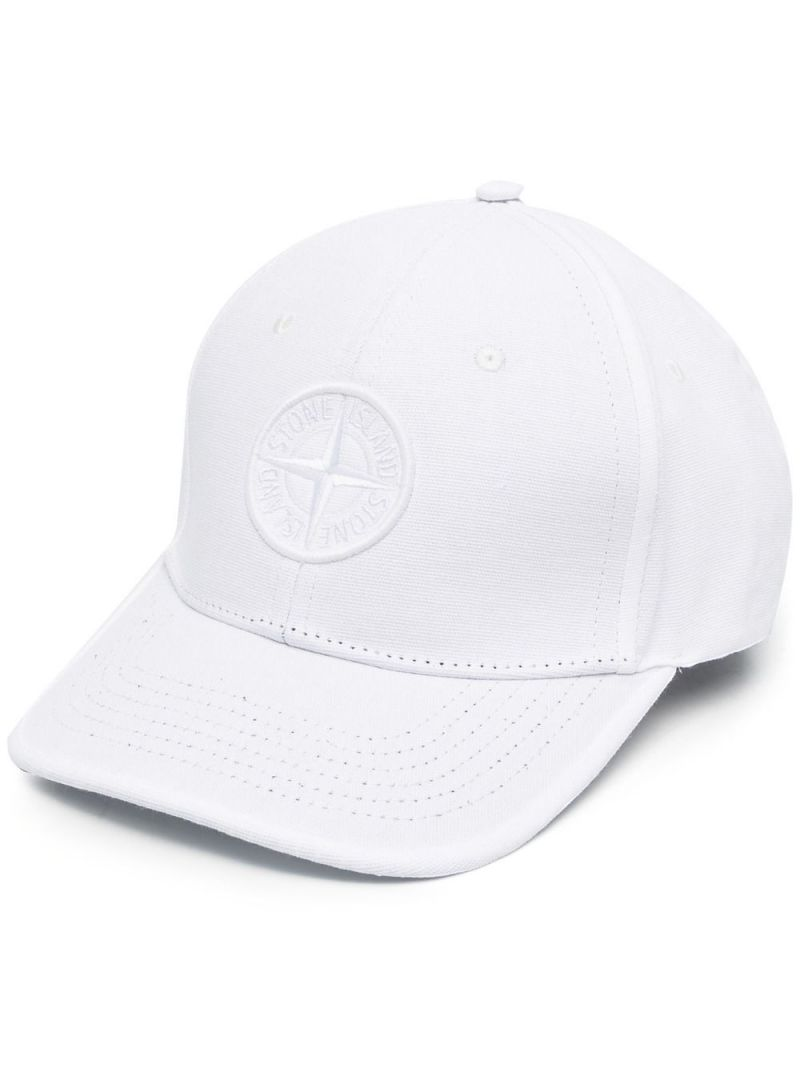 STONE ISLAND JUNIOR: logo embroidered cotton baseball cap Color White_1