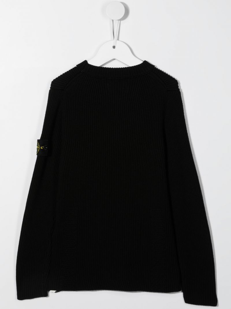 STONE ISLAND JUNIOR: logo badge-detailed ribbed wool pullover Color Black_2