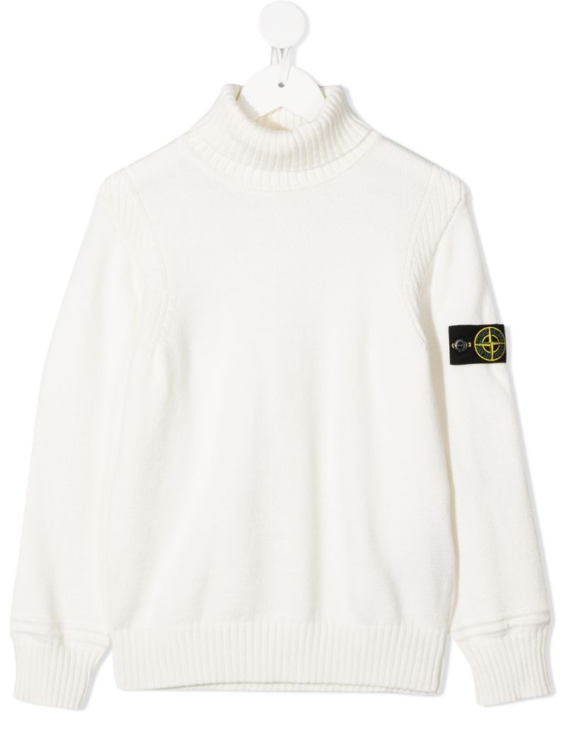 STONE ISLAND JUNIOR: logo badge-detailed cotton blend turtleneck Color White_1