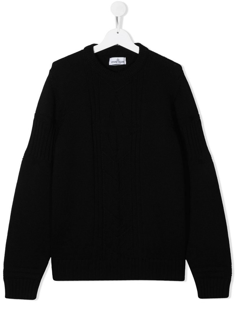 STONE ISLAND JUNIOR: logo-detailed wool pullover Color Black_1