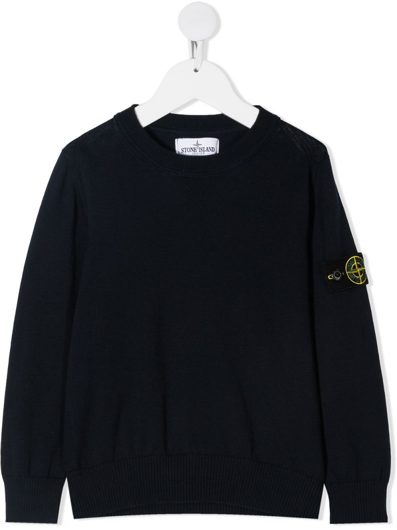 STONE ISLAND JUNIOR: logo badge-detailed cotton pullover Color Blue_1