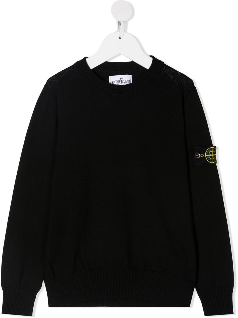 STONE ISLAND JUNIOR: logo badge-detailed cotton pullover Color Black_1